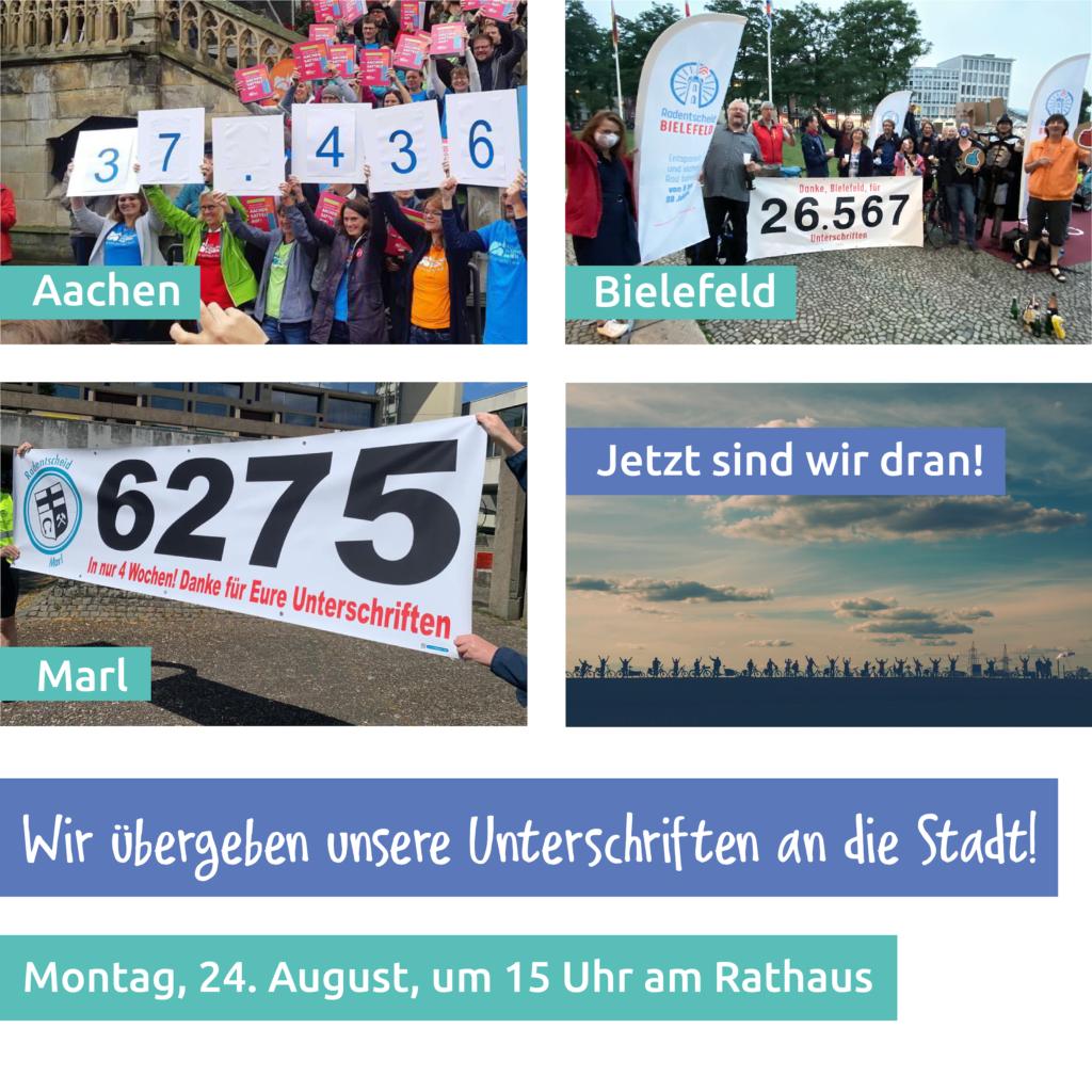 Heute, 24.08.2020, 15:00 Uhr: Übergabe der Unterschriften am Rathaus