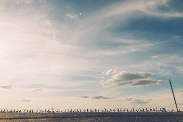 Die Aktiven des RadEntschedes haben sich in langer Reihe aufgestellt. Das Foto ist aus niedriger Perspektive aufgenommen, dadurch erscheinen die die Radler und ihre Räder wie Silhouetten am Horizont vor einem malerischen heiter bewölkten Himmel.