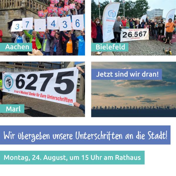 """Collage der Übergaben der Radentscheide Aachen, Bielefeld und Marl. Spruch """"Jetzt sind wir dran"""""""